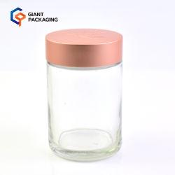 Rose doré, bouchon de protection pour enfant, pot en verre rond transparent, 5 oz Emballage CBD pour fleurs de cannabis de 150 ml