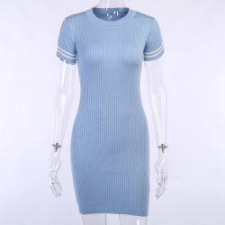 As mulheres de moda do vestuário de cor sólida Saia de malha O pescoço vestido Bodycon