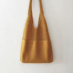Трикотажные магазинов женская сумка Custom соткать спицы хлопка на пляже Mesh Bag