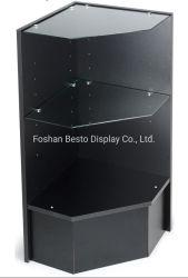 عداد البيع بالتجزئة الركني أسود / تشيري / أبيض إنهاء وإمكانية التعديل الرفوف الزجاجية المقسّى لشاشة العرض في السوق