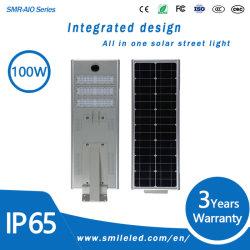 IP65 alojamento de alumínio Movimento Shell Lâmpada inteligente 100 Watts todos integrados em uma rua Solar Light