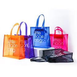 2021 ファッションサイズの大型透明 PVC トートバッグビーチバッグプラスチック ショッピングバッグとロゴ