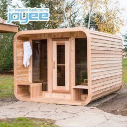 Joyee 호화스러운 단단한 튼튼한 빨강 삼목 나무로 되는 Sauna 오두막 입방체 판매를 위해 옥외 옥외 Sauna 스팀 룸 적외선 Sauna