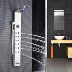 SUS304 لوحة دش من الفولاذ المقاوم للصدأ ضوء LED العلوي يد فاخرة لوحة دش غير لامعة من طراز بلاك كووري
