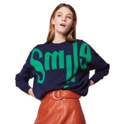 Cartas de patrón de Jacquard grueso suéter tejido Sweater Top