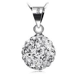 925 Sterling Silver Rhinestone Esfera Pendente para colar 7 cores disponíveis bola de cristal pendente manual