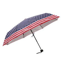 Barato de Impressão Digital anti UV revestimento de prata publicidade compacto três guarda-chuva dobrável