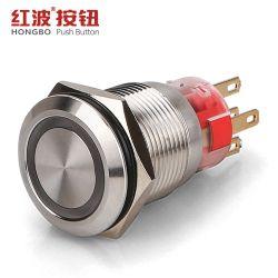 Anillo de metal de 19mm encendido momentáneo impermeable Interruptor Pulsador de encendido y apagado