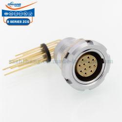 2b 12pino Zcg Tomada fixa com duas porcas com contacto de impressão Auto Push-Pull Conector de travamento