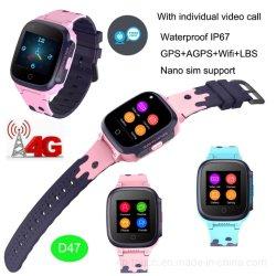 지능적인 시계 전화 D47가 4G 영상 외침에 의하여 방수 IP67 GPS 농담을 한다