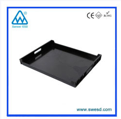 ESD Antisatic negra de plástico conductivo PCB Bandeja para productos electrónicos