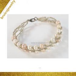 Braccialetto d'acqua dolce accessorio della perla del branello di modo del braccialetto dell'argento Hand-Woven dei monili