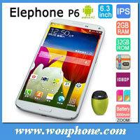6.3インチのElephone P6の携帯電話Mtk6589tのクォードコア人間の特徴をもつ1280*720pメガ元の表示1GB+16GB/2GB+32GB OTG