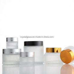 Tc-69 Frosted Glass OEM vide de luxe de gros pot de crème cosmétique Emballage avec l'argent et noir les capuchons en bois blanc