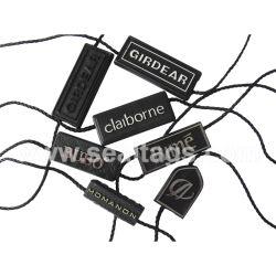 Personalisierter Kunststoff abbaubare Schmuck-Verbindungselemente Kleidung PVC-Schicht-Logo Aufkleber String Seal Hang Tags für Bekleidungszubehör und Heimtextilien Etikett Für Kleidung