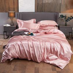 Colar 6 PCS Rosa Seda acetinado cama completa com edredão cobrir carpete sheet 4 casos de almofadas