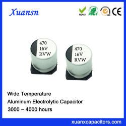 Alta estabilidad 470UF 16V 300horas de condensadores electrolíticos SMD