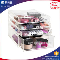 Haut de gros transparent des cosmétiques Présentoir acrylique de gros de maquillage avec séparateur de l'organiseur