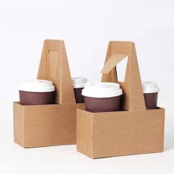 Base a gettare del cassetto della bevanda del caffè Della carta kraft di tazza della clip da portar via del supporto con la maniglia