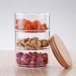 4 Reihe gestapeltes beschriftetes Glasglas mit Bambuskappe für Tee-Kaffee-Zuckerheiße Schokoladen-Startwert- für Zufallsgeneratorgebrauch