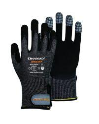 13G Hppe filés/fibre de verre/polyester avec enduit de sable de nitrile avec couture EVA sur Palm, sur les doigts en cuir, PVC et d'entrejambe Velcro sur le pouce sur le tricot poignet