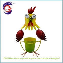 Порошковое покрытие металлической стенки из кованого сад декоративные куриное мясо животных утюг Flower Pot держатель растений