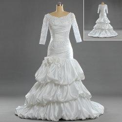 W282 Slim gaine musulmane Mermaid manches 3/4 Robes de mariée de mariée