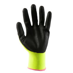13G heldere Geelgroene Polyester met de Zwarte Handschoenen van het Werk van de Veiligheid van het Schuim