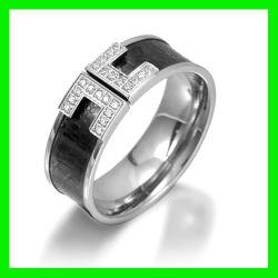 2012 de Zwarte Ring van de Juwelen van het Roestvrij staal met CZ (TPSR656)