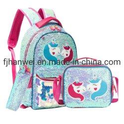 Mais populares personalizados elegante Lantejoulas Meninas Unicórnio Poliéster bolsa escolar com saco de almoço e saco de carvão