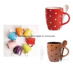 Stippen, keramische koffiekopset met lepel (CPBZ-4027)