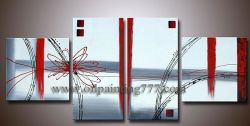 Huile sur Toile encadrée moderne de style Art déco abstrait (4P-AB123611)