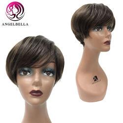 Angelbella #4 절반 레이스 간결 학교 100% 사람의 모발 바브 가발로 다시 오래된 형식 작풍