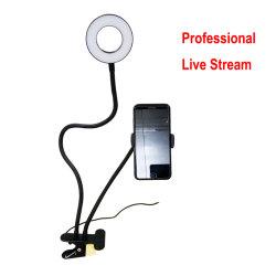 2020 Nuevo y flexible largos brazos soporte de mesa cama perezoso Selfie Anillo de luz LED con soporte para teléfono para la transmisión en vivo el maquillaje con Control Remoto en stock