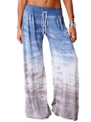 Оптовые цены Plus-Size Sleep надеть повседневную йога красителя соединительной тяги реактивной тяги женщин печати на основе красителя Терри брюки для джоггинга пижамы брюки