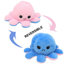 Кнопки двусторонняя Flip кукла Cute Мягкие плюшевые игрушки животных игрушки для детей реверсивный осьминог