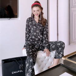 턴다운 칼라 디자이너 실크 파자마 여성용 sleepwear 슬리epwear for 여성