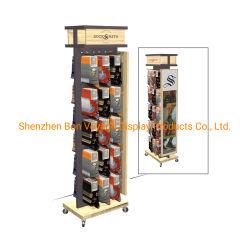 Einzelverkauf Positions-hölzerner Fußboden-doppelseitiger Socken-Ausstellungsstand mit Fußrollen