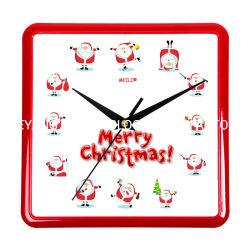 크리스마스 선물 기계 장식, 홈 장식, 사각형 플라스틱 벽 시계