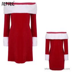 Frauen-Erwachsen-Kostüm-weicher Samt weg vom Schulter-Weihnachtsfest-Kleid
