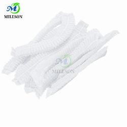 Tapas desechables Bouffant redecilla elástica Non-Woven tapa a prueba de polvo tapa de culata de cintillos para Cosmética ducha Hospital Médico de cocción de las industrias de laboratorio (blanco)