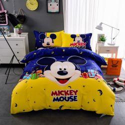 미키 마우스 카툰 3D 인쇄 폴리에스테르 100% 침대 시트 침구 설정