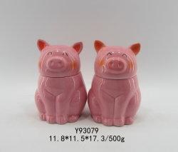 Keramischer tierischer rosafarbener Schweinfox-Kasten