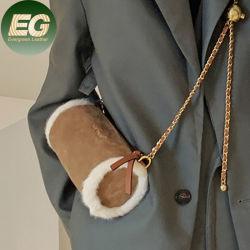 Sh2172 S クロスボディふんわりした柔らかい手巻きスエードハンドバッグ Faux プラシ天の注文の革キュートな財布デザイナー毛皮の鎖のシリンダー袋