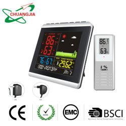 Termómetro de tempo Digital Monitor colorido com relógio atómico, Estação de Previsão com o calendário e luz de fundo ajustável