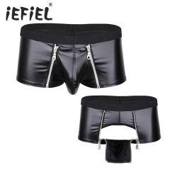 Los hombres de cuero de imitación funda con cremallera Boxer Briefs Shorts de lenceria sexy ropa interior Boxers
