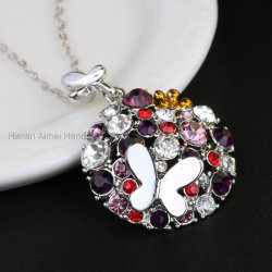 Papillon et Flowers-Shining Crystal Necklace charmant Fashion Necklace