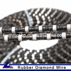 11.5mm 자연적인 돌 채석장 절단을%s 소결된 다이아몬드 구슬을%s 가진 고무 다이아몬드 철사