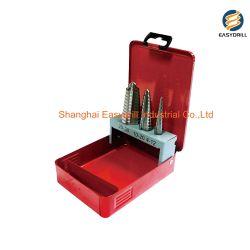 3 métrica de PCS 3 Flats Shank Flauta Reta passo HSS Kit broca de perfuração de metal do tubo de folhas na caixa de metal