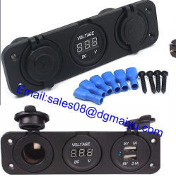 듀얼 USB 차량용 충전기 오토바이 방수 담배 라이터 소켓 플러그 전원 어댑터 전압계 디지털 디스플레이(Phone iPod용